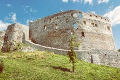 Fördärva slotten av Topolcany, den slovakiska republiken, Centraleuropa Royaltyfri Fotografi