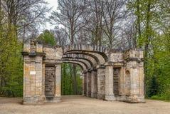 Fördärva teatern i trädgården, Bayreuth, Tyskland royaltyfri foto