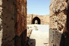 Fördärvar av århundradefästningen för th 12 av Hospitallersen - Belvoiren - Jordan Star - i Jordan Star National Park nära den Af Arkivbild