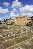 Fördärvar av berömda forntida Roman Forum, Rome, Italien arkivbild