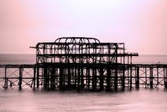 Fördärvar av Brightons västra pir vid skymning Royaltyfri Fotografi