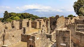 Fördärvar av byggnader på Pompeii, Italien royaltyfria foton