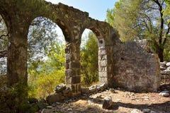 Fördärvar av bysantinska kyrkliga Gerbekilise på den Bozburun halvön nära Royaltyfria Bilder