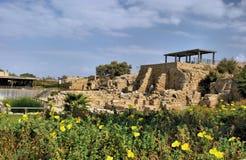 Fördärvar av Caesarea i Israel Arkivbild