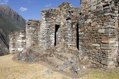 Fördärvar av Choquequirao i Peru. Arkivfoton