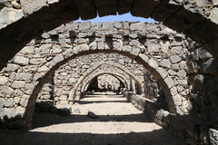 Fördärvar av den Azraq slotten, denöstliga Jordanien, 100 km öst av Amman Royaltyfri Foto