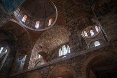 Fördärvar av den bysantinska slottstaden av Mystras Royaltyfri Bild