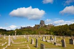 Fördärvar av den Corfe slotten, Dorset, England Arkivbilder