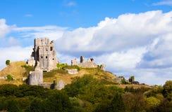 Fördärvar av den Corfe slotten, Dorset, England Royaltyfri Foto