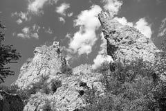 Fördärvar av den Devin slotten - Slovakien Arkivbilder