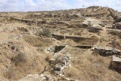 Fördärvar av den forntida bibliska staden av Lachish, i dag telefon Lachish arkivfoto