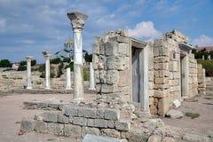 Fördärvar av den forntida grekiska kolonin Khersones Arkivbild