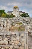 Fördärvar av den forntida grekiska kolonin Khersones Arkivfoton