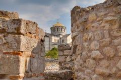 Fördärvar av den forntida grekiska kolonin Khersones Arkivbilder