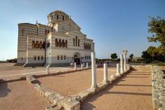 Fördärvar av den forntida grekiska kolonin Khersones Arkivfoto