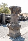Fördärvar av den forntida hebréiska staden Korazim Horazin, Khirbet Karazeh som förstörs av en jordskalv i den 4th århundradeANNO Royaltyfri Foto