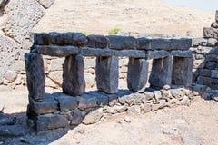 Fördärvar av den forntida hebréiska staden Korazim Horazin, Khirbet Karazeh som förstörs av en jordskalv i den 4th århundradeANNO Arkivfoto