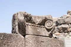 Fördärvar av den forntida hebréiska staden Korazim Horazin, Khirbet Karazeh som förstörs av en jordskalv i den 4th århundradeANNO Royaltyfria Foton