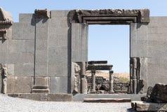 Fördärvar av den forntida hebréiska staden Korazim Horazin, Khirbet Karazeh som förstörs av en jordskalv i den 4th århundradeANNO Arkivbild
