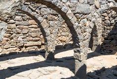 Fördärvar av den forntida hebréiska staden Korazim Horazin, Khirbet Karazeh som förstörs av en jordskalv i den 4th århundradeANNO Arkivbilder