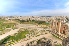 Fördärvar av den forntida Jerashen, Greco-romaren staden av Gerasa i modern Jordanien Arkivbild
