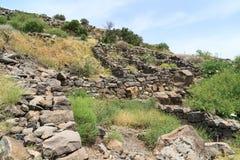 Fördärvar av den forntida judiska staden av Gamla på Golan Heights Förstört av arméerna av Roman Empire i den 67th årsANNONSEN Royaltyfria Foton