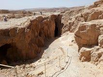 Fördärvar av den forntida Masadaen, det sydliga området, Israel arkivbilder