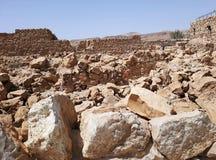 Fördärvar av den forntida Masadaen, det sydliga området, Israel arkivfoto