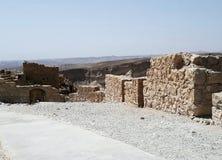 Fördärvar av den forntida Masadaen, det sydliga området, Israel arkivfoton