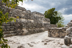 Fördärvar av den forntida Mayan staden av Calakmul Arkivbilder