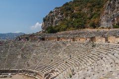 Fördärvar av den forntida staden av Myra (Demre) Arkivbilder