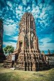 Fördärvar av den forntida staden Ayutthaya Arkivbilder