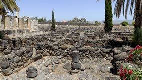 Fördärvar av den forntida staden Capernaum i Israel Royaltyfri Foto