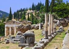 Fördärvar av den forntida staden Delphi, Grekland Arkivbild