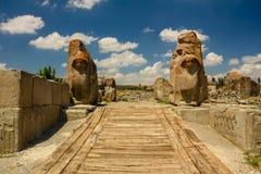 Fördärvar av den forntida staden Hattusha Arkivbilder