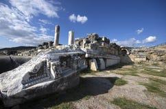 Fördärvar av den forntida staden Hierapolis, Denizli/Turkiet arkivfoton