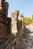 Fördärvar av den forntida staden på Phaselis Arkivfoto