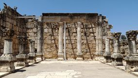 Fördärvar av den forntida synagogan i Capernaum, Israel Royaltyfria Foton