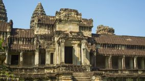 Fördärvar av den forntida templet i Cambodja Angkor Wat Arkivfoto