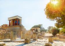 Fördärvar av den Knossos slotten med solen som filtrerar till och med träden på Kreta, Grekland royaltyfri bild