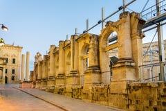 Fördärvar av den kungliga operahuset i Valletta Royaltyfri Bild