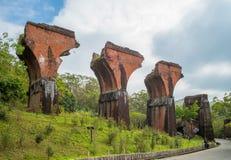 Fördärvar av den långa-teng bron, Miaoli County, Taiwan arkivbild