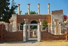 Fördärvar av den St Johns basilikan på Selcuk Ephesus Turkey Arkivfoto