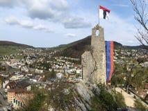 Fördärvar av den Stein Castle eller Schloss ölkrus- eller Ruine ölkruset eller den Schlossruine ölkruset, Baden royaltyfri fotografi