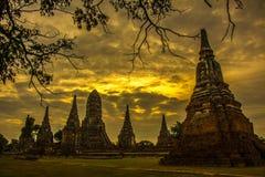 Fördärvar av den thailändska buddistiska templet i solnedgång Arkivfoton