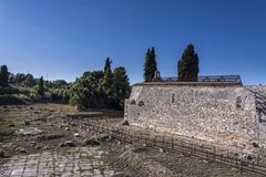 Fördärvar av den tidiga Christian Basilica av helgonet Kerkyra Royaltyfri Bild