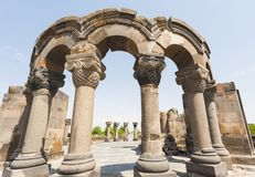 Fördärvar av den Zvartnos templet arkivfoton