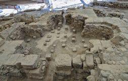 Fördärvar av det Eustolios huset på Kourion på Cypern Arkivfoto