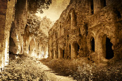 Fördärvar av det forntida fortet, Ukraina, konstnärlig bild Royaltyfri Foto