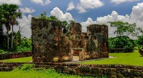 Fördärvar av det Zeeland fortet på ön i den Essequibo deltan Guyana Arkivfoto